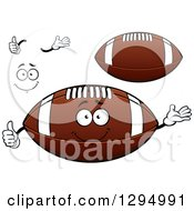 Cartoon Face Hands And American Footballs