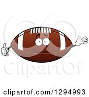 Cartoon American Football Character Presenting And Giving A Thumb Up
