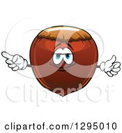 Clipart Of A Cartoon Hazelnut Character Pointing Royalty Free Vector Illustration