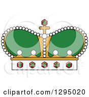 Clipart Of A Cartoon Green And Gold Crown Royalty Free Vector Illustration