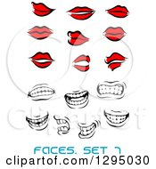 Clipart Of Sketched Black And Red Feminine Lips And Grayscale Mouths Showing Teeth Royalty Free Vector Illustration by Vector Tradition SM