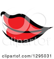 Clipart Of Sketched Black And Red Feminine Lips 2 Royalty Free Vector Illustration