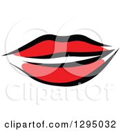 Clipart Of Sketched Black And Red Feminine Lips 3 Royalty Free Vector Illustration by Vector Tradition SM