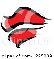 Clipart Of Sketched Black And Red Feminine Lips 9 Royalty Free Vector Illustration