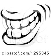 Clipart Of A Grayscale Mouth Showing Teeth 4 Royalty Free Vector Illustration by Vector Tradition SM