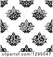 Clipart Of A Seamless Pattern Background Of Damask In Black On White Royalty Free Vector Illustration by Vector Tradition SM