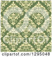 Clipart Of A Seamless Pattern Background Of Yellow Damask On Green Royalty Free Vector Illustration by Vector Tradition SM
