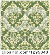 Seamless Pattern Background Of Yellow Damask On Green
