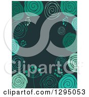 Clipart Of A Doodled Green Floral Background With Text Space On Teal Royalty Free Vector Illustration