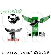 Clipart Of Soccer Cleat Shoe And Text Designs Royalty Free Vector Illustration