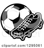 Clipart Of A Black And White Cleat Shoe And Soccer Ball Royalty Free Vector Illustration