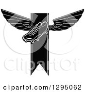 Clipart Of A Black And White Winged Soccer Cleat Shoe Over A Ribbon Royalty Free Vector Illustration