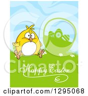 Clipart Of A Yellow Chick Sitting By A Silhouetted Basket In Grass With Happy Easter Text Royalty Free Vector Illustration