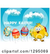 Clipart Of A Cartoon Happy Yellow Chick With Eggs And Happy Easter Text Against Sky Royalty Free Vector Illustration