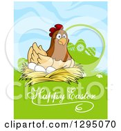 Clipart Of A Happy Nesting Hen By A Silhouetted Basket In Grass With Happy Easter Text Royalty Free Vector Illustration