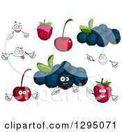 Clipart Of Faces Blueberries Cherries And Raspberries Royalty Free Vector Illustration