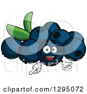 Clipart Of A Cartoon Happy Blueberry Character Pointing Royalty Free Vector Illustration by Vector Tradition SM