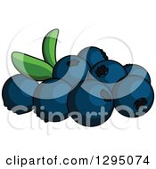 Clipart Of Cartoon Blueberries Royalty Free Vector Illustration