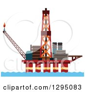 Clipart Of An Oil Platform Royalty Free Vector Illustration