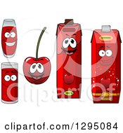 Clipart Of A Happy Cherry Character Cups And Juice Cartons Royalty Free Vector Illustration