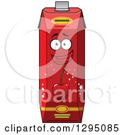 Clipart Of A Happy Cherry Juice Carton Royalty Free Vector Illustration