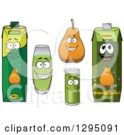 Clipart Of A Happy Pear Character Cups And Juice Cartons Royalty Free Vector Illustration
