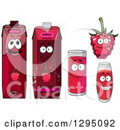 Clipart Of A Happy Raspberry Character Cups And Juice Cartons Royalty Free Vector Illustration