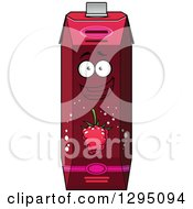 Clipart Of A Happy Raspberry Juice Carton 2 Royalty Free Vector Illustration