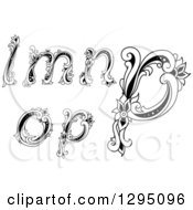 Clipart Of Black And White Vintage Lowercase Floral Letters L M N O And P Royalty Free Vector Illustration