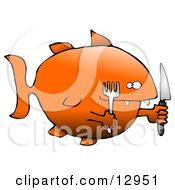 Hungry Killer Goldfish With A Fork And Knife Clipart Graphic Illustration