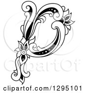 Clipart Of A Black And White Vintage Lowercase Floral Letter P Royalty Free Vector Illustration