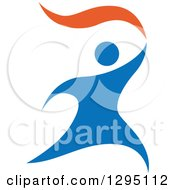 Clipart Of A Blue And Orange Person Running With A Torch Royalty Free Vector Illustration