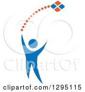 Clipart Of A Blue Person Flying A Kite Royalty Free Vector Illustration