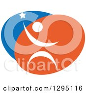 Clipart Of A Blue White And Orange Person Reaching For The Stars Royalty Free Vector Illustration