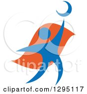 Clipart Of A Blue And Orange Person Reaching For The Moon Royalty Free Vector Illustration by Vector Tradition SM