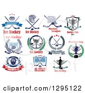 Clipart Of Ice Hockey Sports Designs With Text 4 Royalty Free Vector Illustration