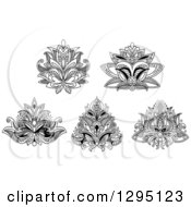 Clipart Of Black And White Henna Lotus Flowers 4 Royalty Free Vector Illustration