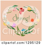 Clipart Of A Heart Made Of Flowers With Spring Text On Beige Royalty Free Vector Illustration by Vector Tradition SM