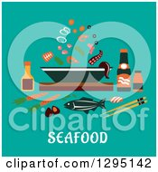 Clipart Of A Bowl Of Seafood And Ingredients With Text On Turqoise Royalty Free Vector Illustration