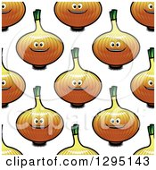 Clipart Of A Seamless Background Pattern Of Cartoon Happy Yellow Onions Royalty Free Vector Illustration