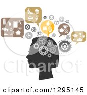 Clipart Of A Silhouetted Womans Head With Gear Cogs And Thoughts Of Food And Cooking Royalty Free Vector Illustration by Vector Tradition SM