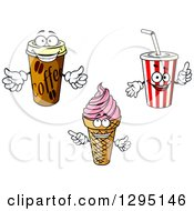 Clipart Of Cartoon Coffee Ice Cream And Fountain Soda Characters Royalty Free Vector Illustration