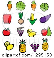 Clipart Of Cartoon Vegetables And Fruits Royalty Free Vector Illustration