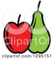 Clipart Of A Cartoon Red Apple And Green Pear Royalty Free Vector Illustration