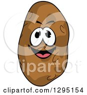 Clipart Of A Cartoon Happy Russet Potato Character Royalty Free Vector Illustration