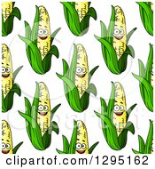 Clipart Of A Seamless Background Pattern Of Happy Corn Characters 2 Royalty Free Vector Illustration