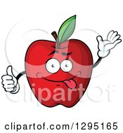 Clipart Of A Cartoon Goofy Red Apple Character Waving And Giving A Thumb Up Royalty Free Vector Illustration