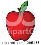 Clipart Of A Cartoon Red Apple Royalty Free Vector Illustration