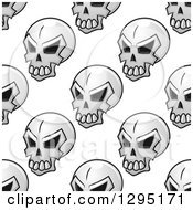 Poster, Art Print Of Seamless Pattern Background Of Grayscale Monster Skulls 2