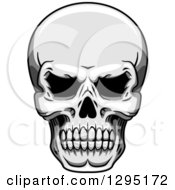 Clipart Of A Tough Grayscale Human Skull Royalty Free Vector Illustration by Seamartini Graphics